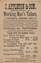 Advert For J. Appleton & Son, Tailors